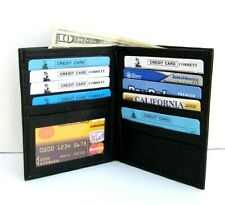 BLACK MEN's GENUINE LEATHER BIFOLD HIPSTER TALL WALLET Money CARD HOLDER New 50