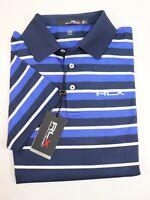 NWT $98 RALPH LAUREN Size M Men's S/S Blue Striped RLX Performance Polo Shirt