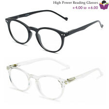 Retro Circle Keyhole Reading Glasses Spring Hinges High Power +4.00 +5.00 +6.00