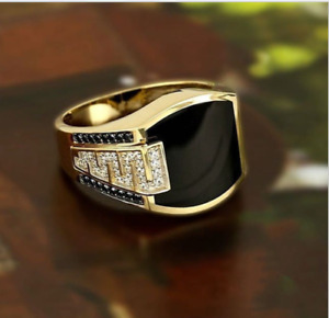 UNISEX gold plated Christian Holy Diamond Ring Wedding Band Size 6-13