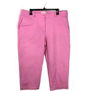 Talbots Signature Womens Size 16 Pink High-Rise Straight Leg Capri Chino Pants