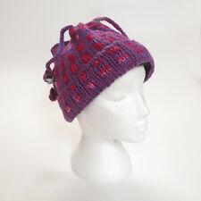 Warm Hand Knitted Winter Soft Woollen Four String Bobble Hat UNISEX 4TH11