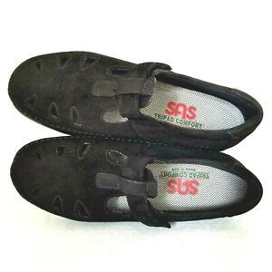SAS Tripad Comfort Shoes Womens Size 7.5M Mary Janes Cut Out Black Suede