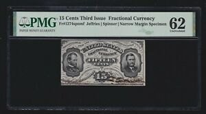 US 15c Fractional Currency Specimen Jeffries/Spinner FR 1274sp spnmf PMG 62 (04)