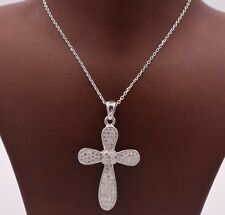 """1.5"""" Cross Round CZ Knot Charm Pendant Necklace 18"""" Chain Sterling Silver 925"""