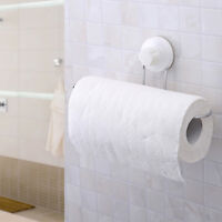 Suction Cup Toilet Roll Paper Holder Wall Mount Towel Hanger Rack Bathroom FA