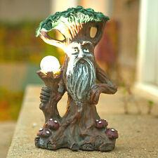 Solar Light Up LED Fairy House Garden Ornament Tree Log Statue Pixie Elf Outdoor