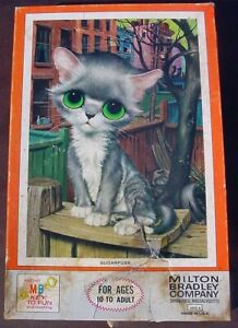 1968 MB Gig Pity Kitty Big-Eye Cat Puzzle SUGARPUSS Green Eyes Complete 4894-8