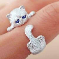 925 Sterling Silber gestempelt Weiß Gold Cute Kitty Paw verstellbarer Ring J9I4
