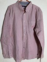 Nautica Mens XL Slim Fit Checkerd Long Sleeve Button Shirt Red/blue white