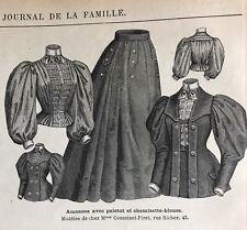 MODE ILLUSTREE SEWING PATTERN June 23,1895 SIDE SADDLE COSTUME