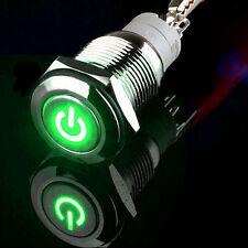 12V 3A 16mm grünes LED-Energien-Symbol Metallverriegelung Druckknopf-Schalter