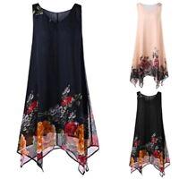 Women Summer Sleeveless V-neck Chiffon Fliral Print Beach Irregular Dress