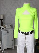 Donna Bolero Shirt Collo alto Top Maglia a maniche lunghe Pullover giallo fluo