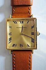 Rare Universal Unisex Geneve Watch 18 Carat Gold Leather Strap Service 17 Jewels