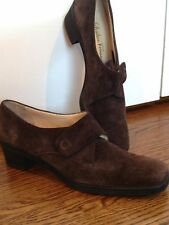 Salvatore Ferragamo Sz 9 2a Womens Brown Suede Leather Shoes Italy Ankle Boots