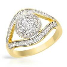 Lovely Eye-shaped Ring W/0.74ctw Cubic zirconia in 14K/925 Gold plated Silver