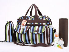 New Carter's one Mum/baby diaper nappy changing bag 4 pcs- green blue strips