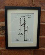 Dessin de brevets USA diapositive trombone instrument de musique monté PRINT 1902 cadeau de Noël