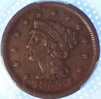"""1853 """"BRAIDED HAIR"""" LARGE CENT, PCGS VF35, SHARPLY DETAILED, CHOCOLATE BROWN!"""