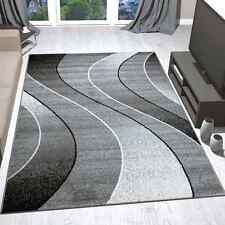 Teppich Modern Design Gestreift Wellen Grau Schwarz Weiß Meliert