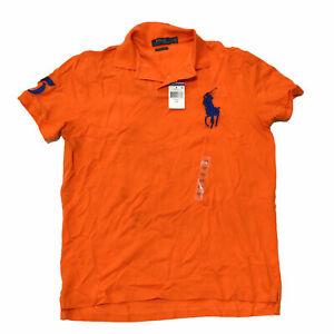 Polo Ralph Lauren Mens Polo Shirt Big Pony Custom Slim Fit Orange L Damaged New