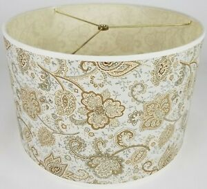 """NEW Drum Lamp Shade 15"""" Dia 10"""" H Transitional Floral Light Blue Tan Fabric"""