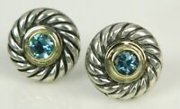 David Yurman 14K Yellow Gold & 925 Sterling Silver Topaz Cookie Stud Earrings