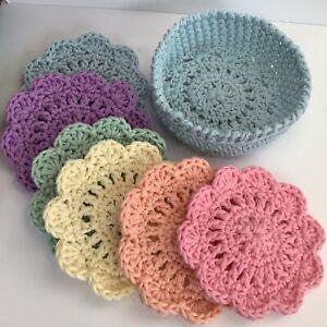 "6 x Crochet Cotton Coasters with holder, Boho, Vintage style 4"" Pale Blue Holder"