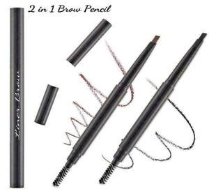 2 in 1 Waterproof Eyebrow Liner Pencil Slim Brush Makeup Tools