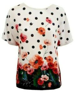 Women Ladies ex M & Co polka dot and poppy print top - Sizes S to L