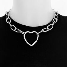 Chunky silver industrial style heart choker chain necklace with back lobster