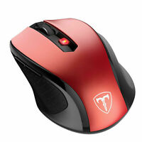 VicTsing Wireless 2.4G Optical Mouse 2400DPI With USB Receiver Red Laptop PC OP