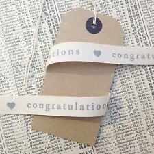 Cream Ivory Congratulations 15mm Ribbon - Craft Sewing Wedding Anniversary
