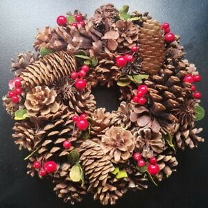 "Wreath 28cm/11"" Festive Berry & Cone Wreath Door Decoration Winter Christmas"