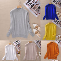 Women's Jumper Pullover Slim Knitted Half-Turtleneck Cashmere wool Soft Sweater