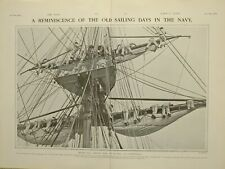 1903 PRINT TRAINING SHIP BRIG MARTIN MAKING SAIL FALL FORSAIL FORETOPSAIL SAILOR
