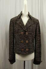 St. John Collection Womens Knit Sweater Blazer Sz 12 Brown Suit Jacket Tweed