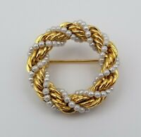 Vintage Gold Tone Wreath Circle Pin Brooch with Faux Pearls 1 1/4""