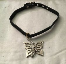 Leather Collar With Winged Dragon Pendant, Removable Pendant, Artisan Made