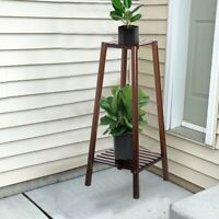 Wood Plant Stand Indoor Outdoor Carbonized Triangle 2 Tiered Corner Plant Rack