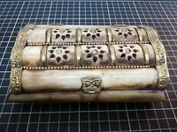 ANTIQUE Middle East CARVED CAMEL & BRASS JEWELRY TRINKET BOX 6""