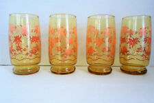 Set 4 Amber Glass 12 Ounce Tumblers Mid Century Ombre Leaf Design Peach Orange