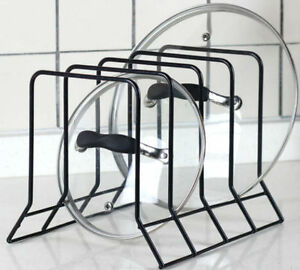 Kitchen Bakeware Pot Lid Rack Holder Organizer (Black)