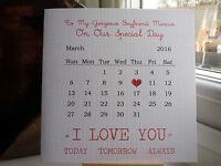 Handmade Personalised Anniversary Calendar Card Boyfriend Girlfriend Husband etc