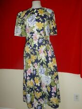 """Vintage Plaza South 100% Cotton Garden Party Dress 19"""" Chest 30"""" Waist sz 10"""