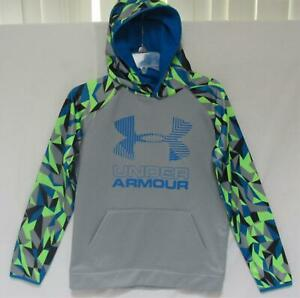 """UNDER ARMOUR Youth Boys """"Big Logo"""" Gray Blue Camouflage Trim Hoodie Size L (14)"""