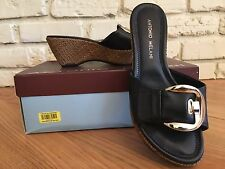 ced50285b9b6e0 Antonio Melani Black Leather w  Buckle Wedge Heel Sandals Weave Women s -  Sz 6M