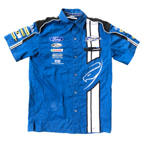 FORD Short Sleeve Button Up Shirt Blue Size Small Official Team Merchandise (B)