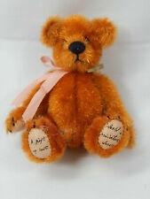 "World of Miniature Bears 3"" Vintage Fabric Bear Gold #362 CLOSING"